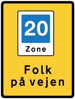 Billede af Skilt E53.4 - Folk på vejen - 60x90 cm, 20 km