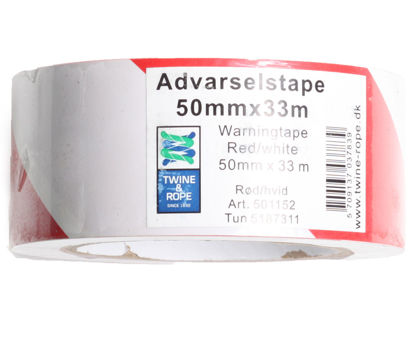 Billede af Advarselstape rød/hvid 50 mm x 33 mtr.