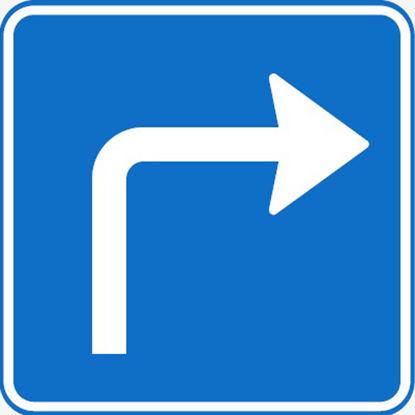 Billede af Undertavle U6.2 påbudt kørselsretning, Højre