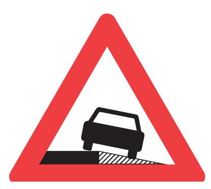 Billede af Advarselstavle A35 Farlig rabat - 70 cm